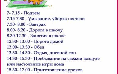 Примерный режим дня первоклассника
